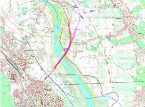 Mapa sytuacyjna z zaznaczonym przebiegiem planowanego nowego odcinka drogi wojewódzkiej nr 855